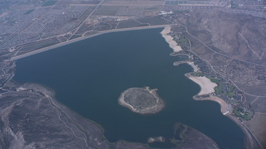 A bird's eye view of the Perris Reservoir, California Aerial Stock Footage WA007_034 | Axiom Images