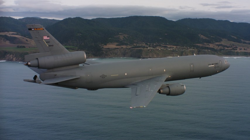 4K stock footage aerial video of a McDonnell Douglas KC-10 in flight near the Northern California coast Aerial Stock Footage | WAAF03_C042_011881