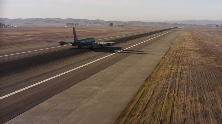 4K stock footage aerial video of a Boeing KC-135 lifting off from Travis Air Force Base, California Aerial Stock Footage | WAAF04_C007_01187P