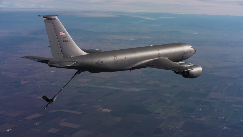 4K aerial video of a Boeing KC-135 flying with lowered refueling boom in Northern California Aerial Stock Footage | WAAF04_C011_0118FR