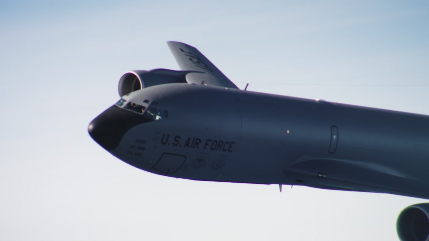 4K aerial video of the nose and cockpit of a Boeing KC-135 in flight over Northern California Aerial Stock Footage | WAAF04_C052_0118NQ