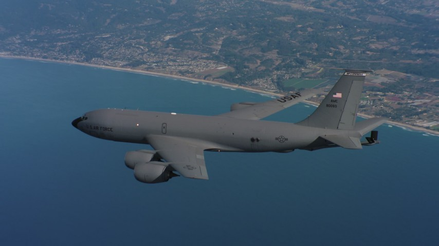 4K stock footage aerial video of a Boeing KC-135 over the ocean by the coast in Northern California Aerial Stock Footage | WAAF04_C063_0118FX