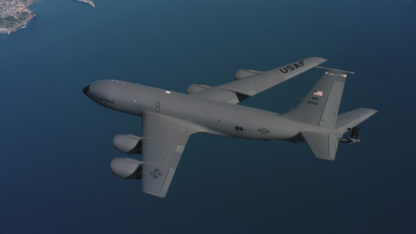 4K stock footage aerial video of a Boeing KC-135 over the Pacific Ocean near the Northern California coast Aerial Stock Footage | WAAF04_C065_0118AU
