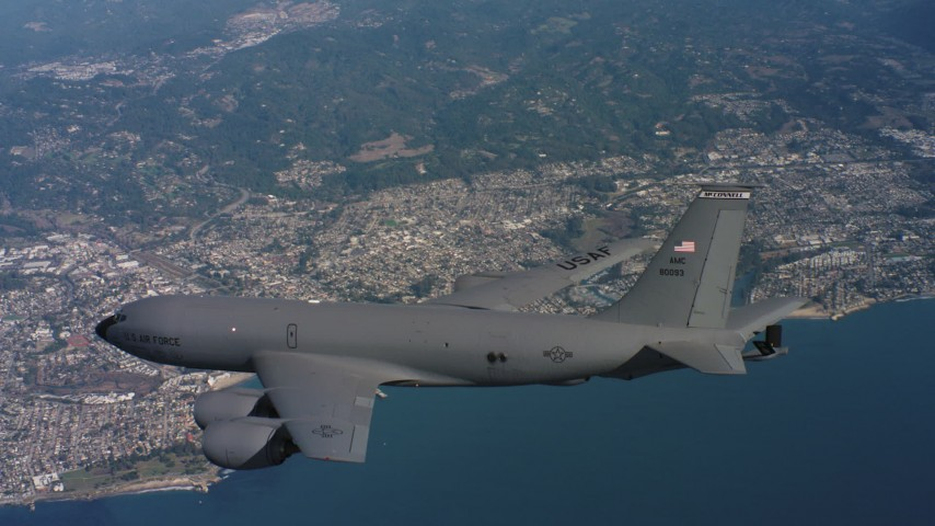 4K aerial video of a Boeing KC-135 over the ocean near the coast of Northern California Aerial Stock Footage | WAAF04_C065_0118AU_S000
