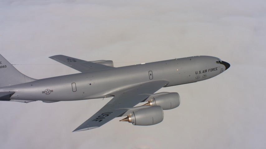 4K stock footage aerial video of tracking a Boeing KC-135 flying over low clouds in Northern California Aerial Stock Footage | WAAF04_C081_01189U