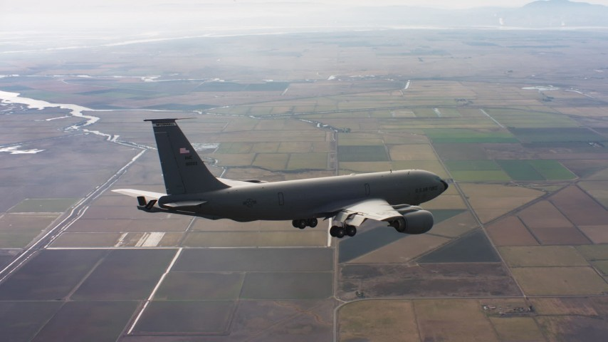 4K stock footage aerial video of a Boeing KC-135 near Travis Air Force Base, California Aerial Stock Footage | WAAF04_C097_0118ED