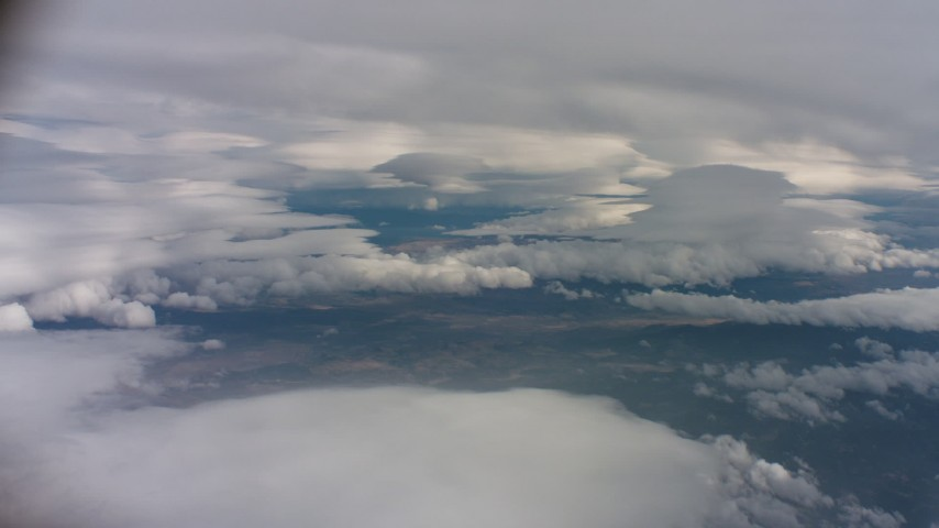 4K aerial stock footage video of a wide view of large cloud formations over Northern California Aerial Stock Footage | WAAF07_C064_0119ET
