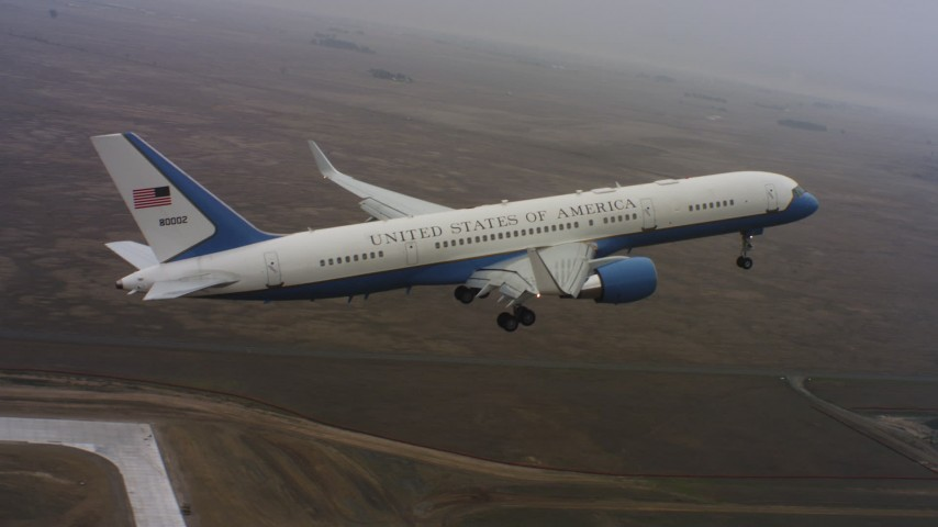 4K stock footage aerial video of a Boeing C-32 lifting off from Travis Air Force Base, California Aerial Stock Footage | WAAF08_C034_0119DF_S000
