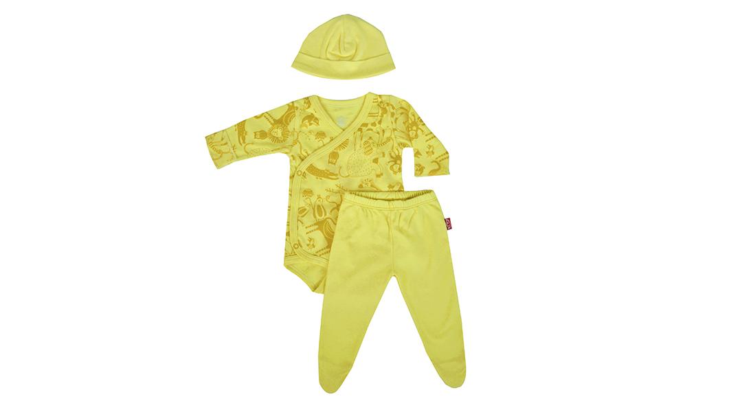 Conjunto amarillo body + patita + gorrito recién nacido - Santos y Diablitos  » Babytuto 423968f02eb