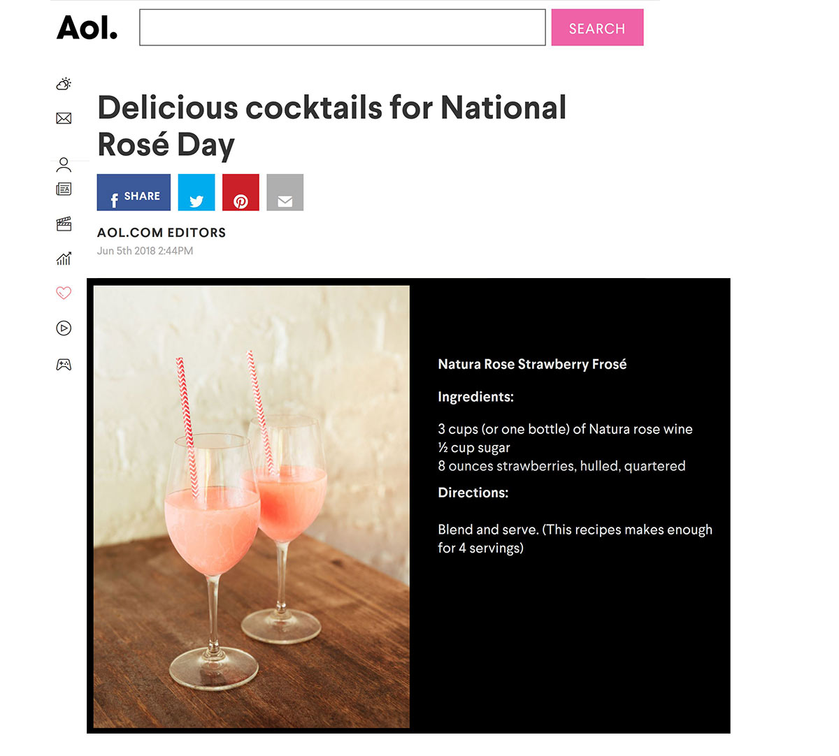 Natura Rose Strawberry Frose cocktail recipe in AOL
