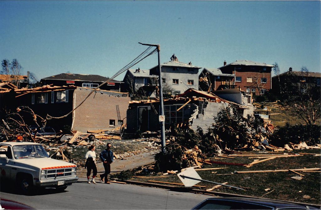 Aftermath of the tornado that ripped apart Allandale Heights on May 31, 1985.