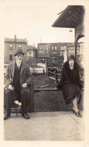 YYYY-Downtown-Barrie Train Station-Fred Grant Square-Thos Sibbald & Georgina Bowins-photo from June (Owens) Campbell (A)