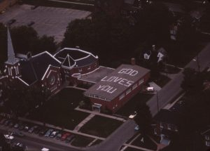 1975-c-Downtown-Aerial view of Collier Street Church before the round Sunday School building was demolished to build Collier Place