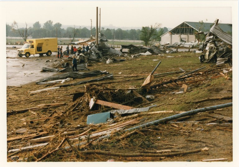 Inventory of damage caused by the tornado on Essa Road near Fairview Road and Highway 400 (41).