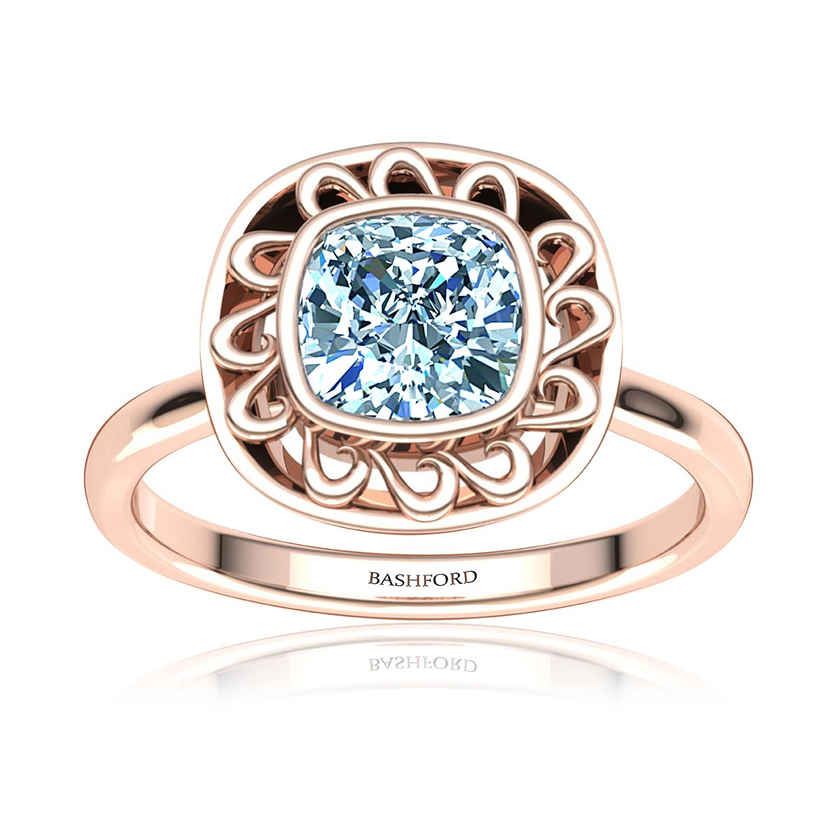 Asterion Moissanite Ring (with 1 Carat Cushion Forever One)