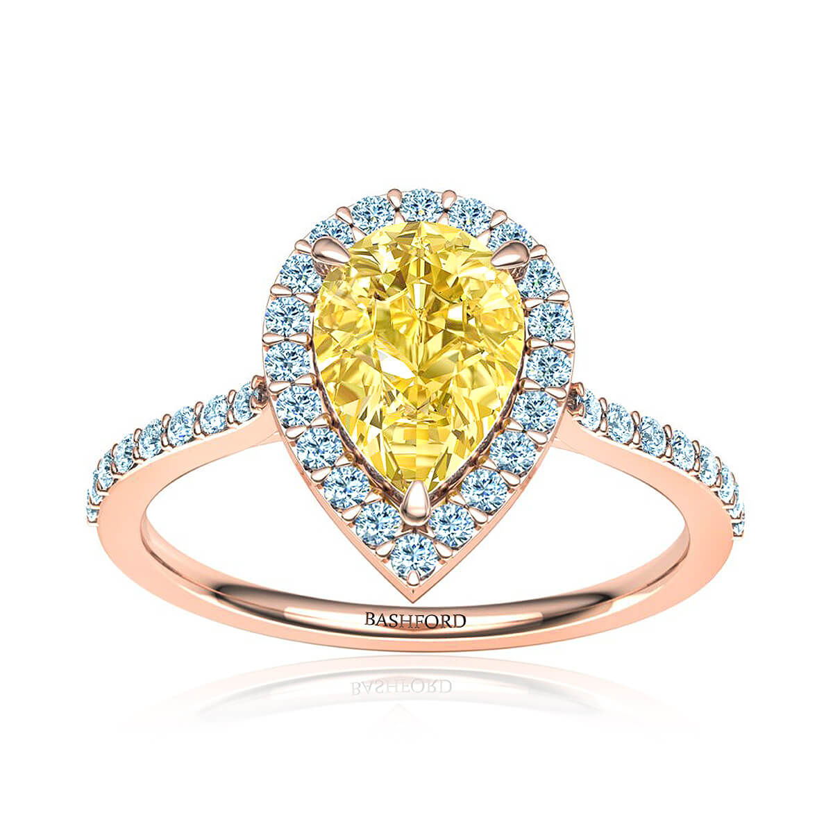 Queen Victoria Diamond Ring (with 1 Carat Pear Yellow Diamond)