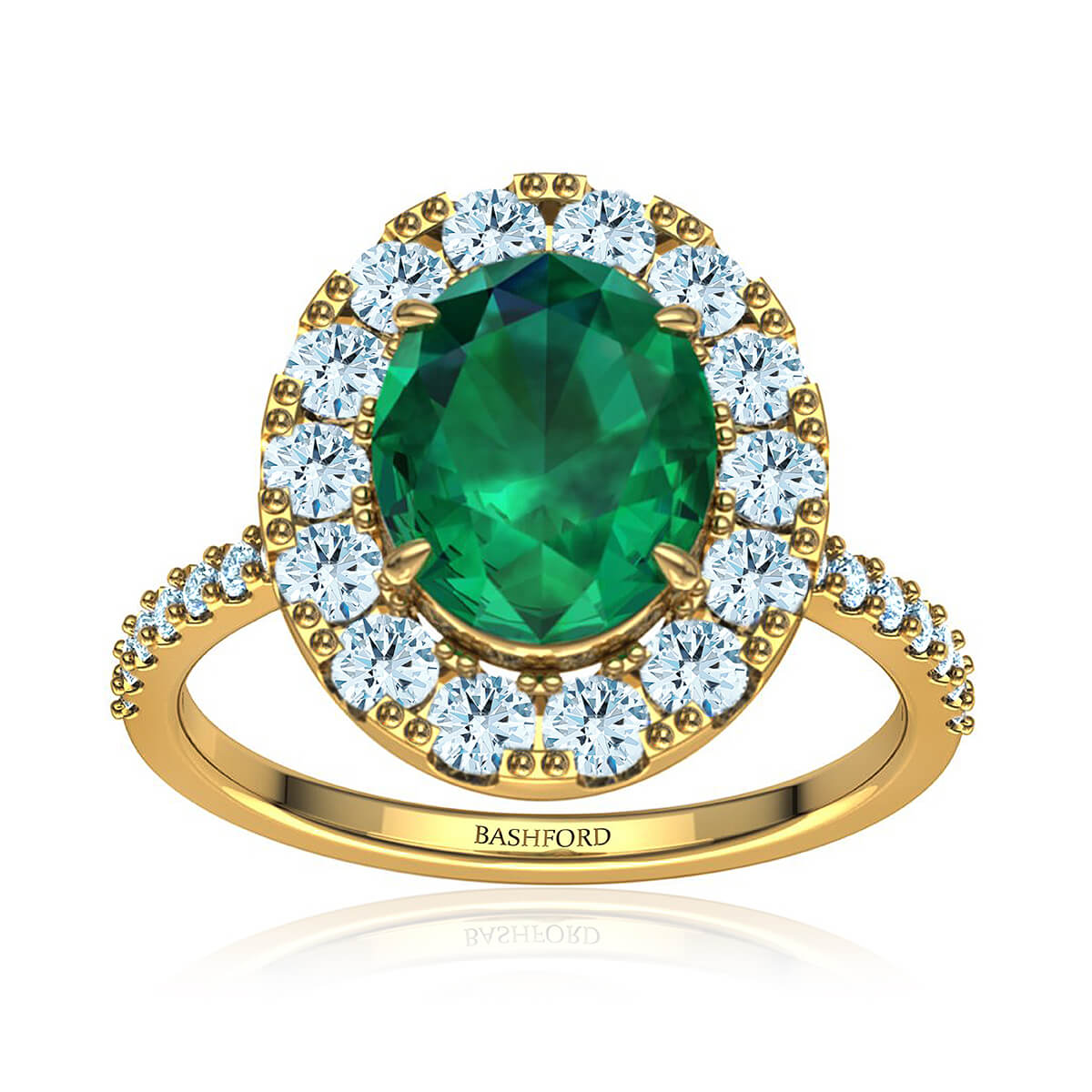 Marielyn Emerald Ring (with 1 Carat Oval Emerald)