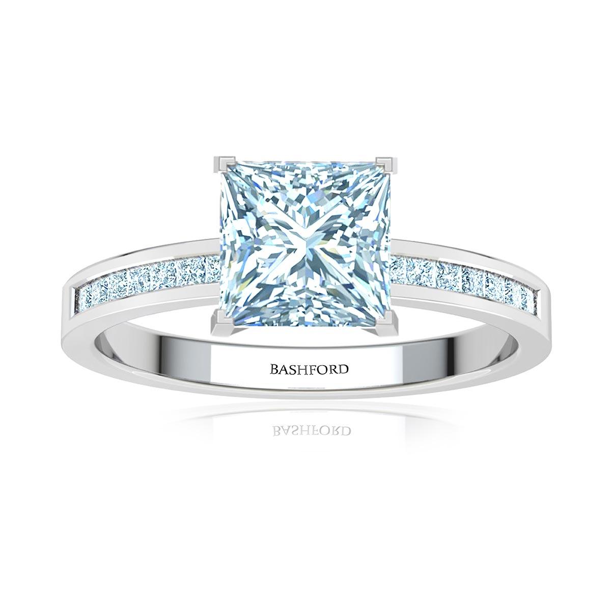 Ari Diamond Ring (with SI1, D, 1/2 Carat Princess Diamond)