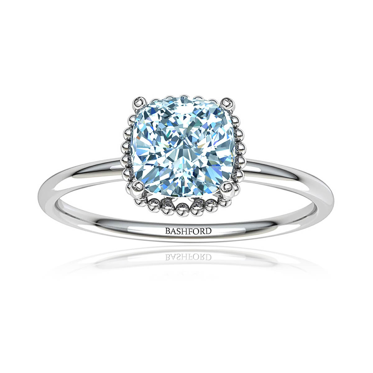 Rosarica Moissanite Ring (with 2 1/8 Carat Cushion Forever One)