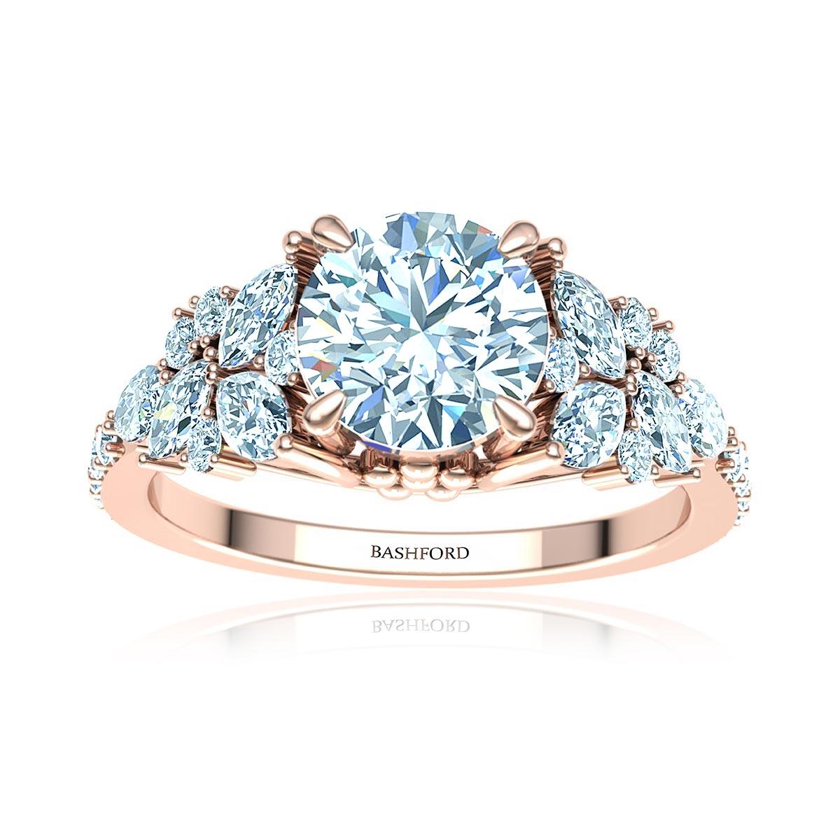 Adhara Diamond Ring (with VVS2, G, 1 Carat Round Diamond)