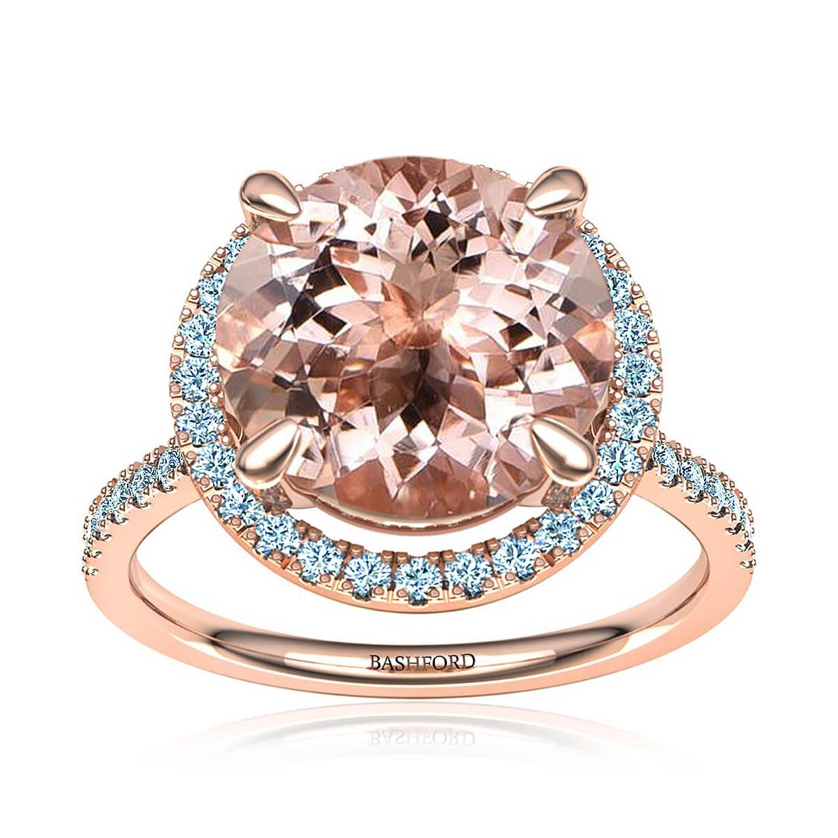 Rosalyn Morganite Ring (with 4 1/4 Carat Round Morganite)