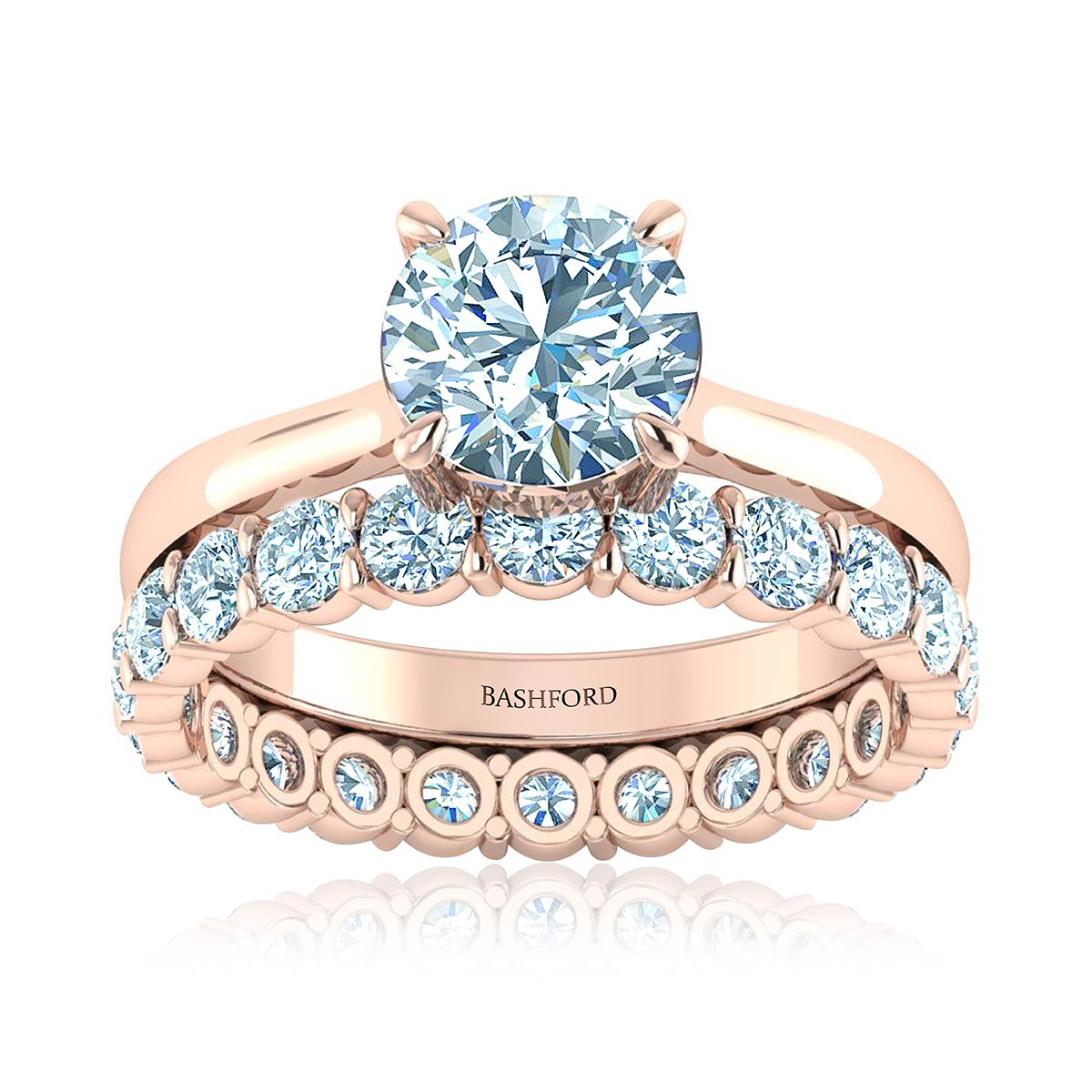 Aria Diamond Matched Set (with VS1, G,  3/4 Carat Round Diamond)