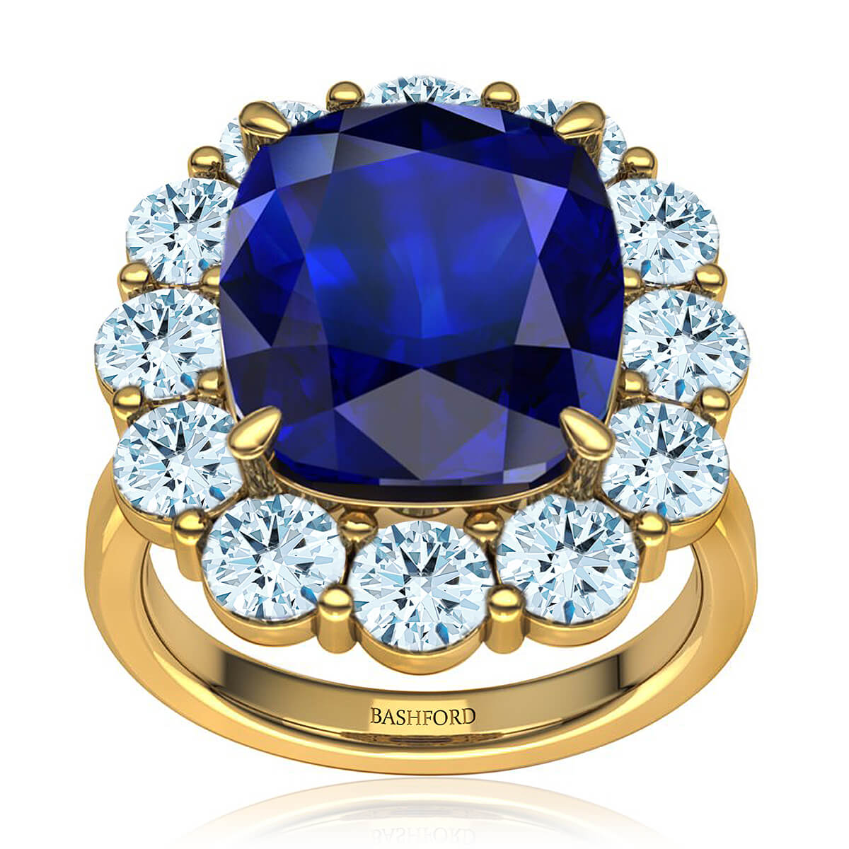 Eugenia Sapphire Ring (with 8x6 Cushion Blue Sapphire)