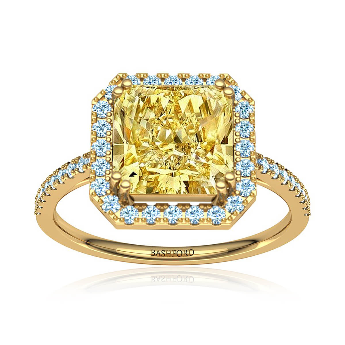 Queen Ulrika Diamond Ring (with 1 Asscher Carat Yellow Diamond)
