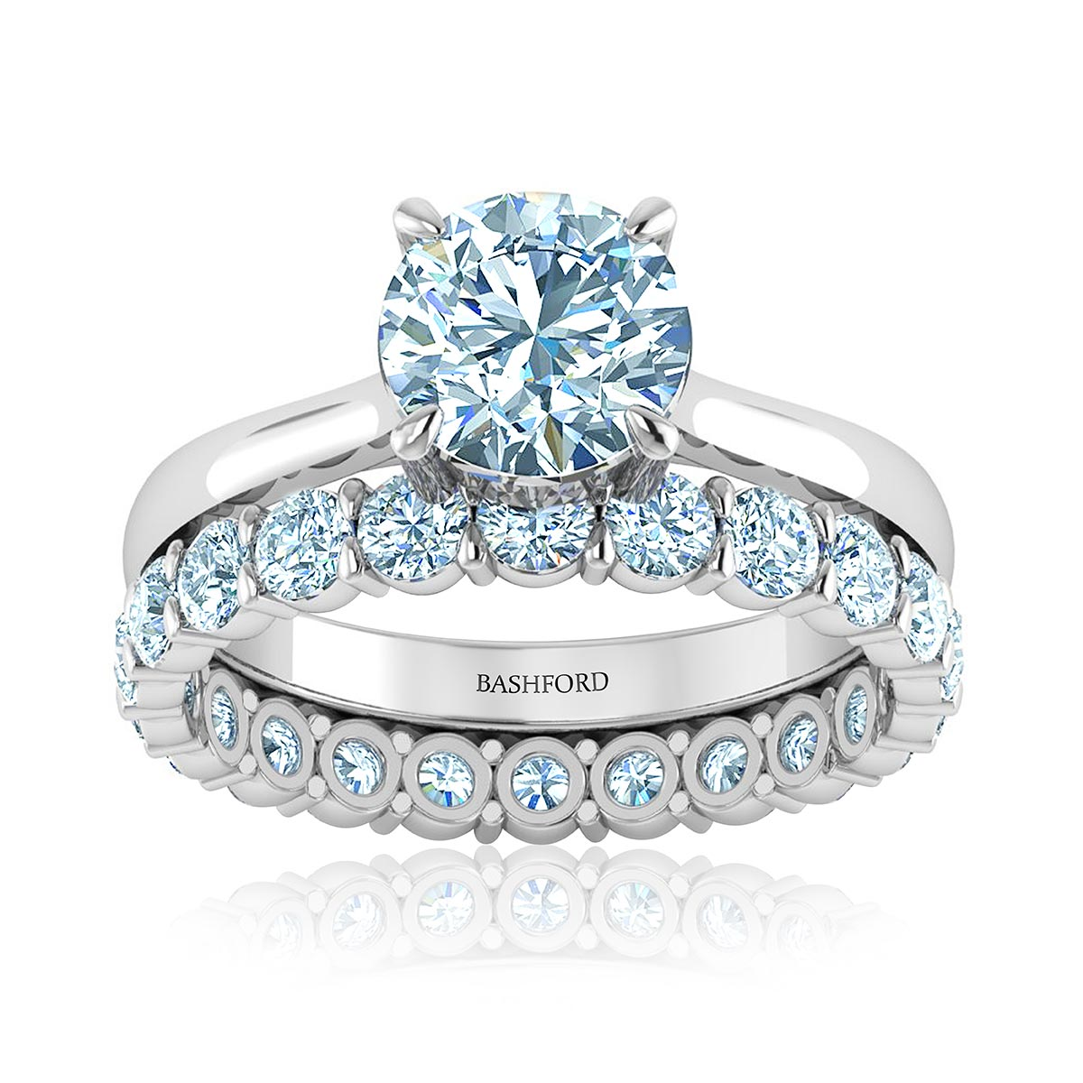 Aria Diamond Matched Set (with VS2, F, 1 Carat Round Diamond)