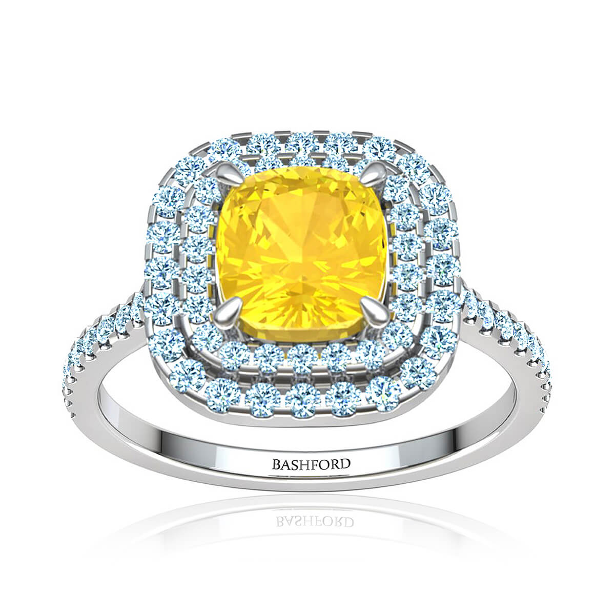Mariposa Sapphire Ring (with 7x7 Cushion Yellow Sapphire)
