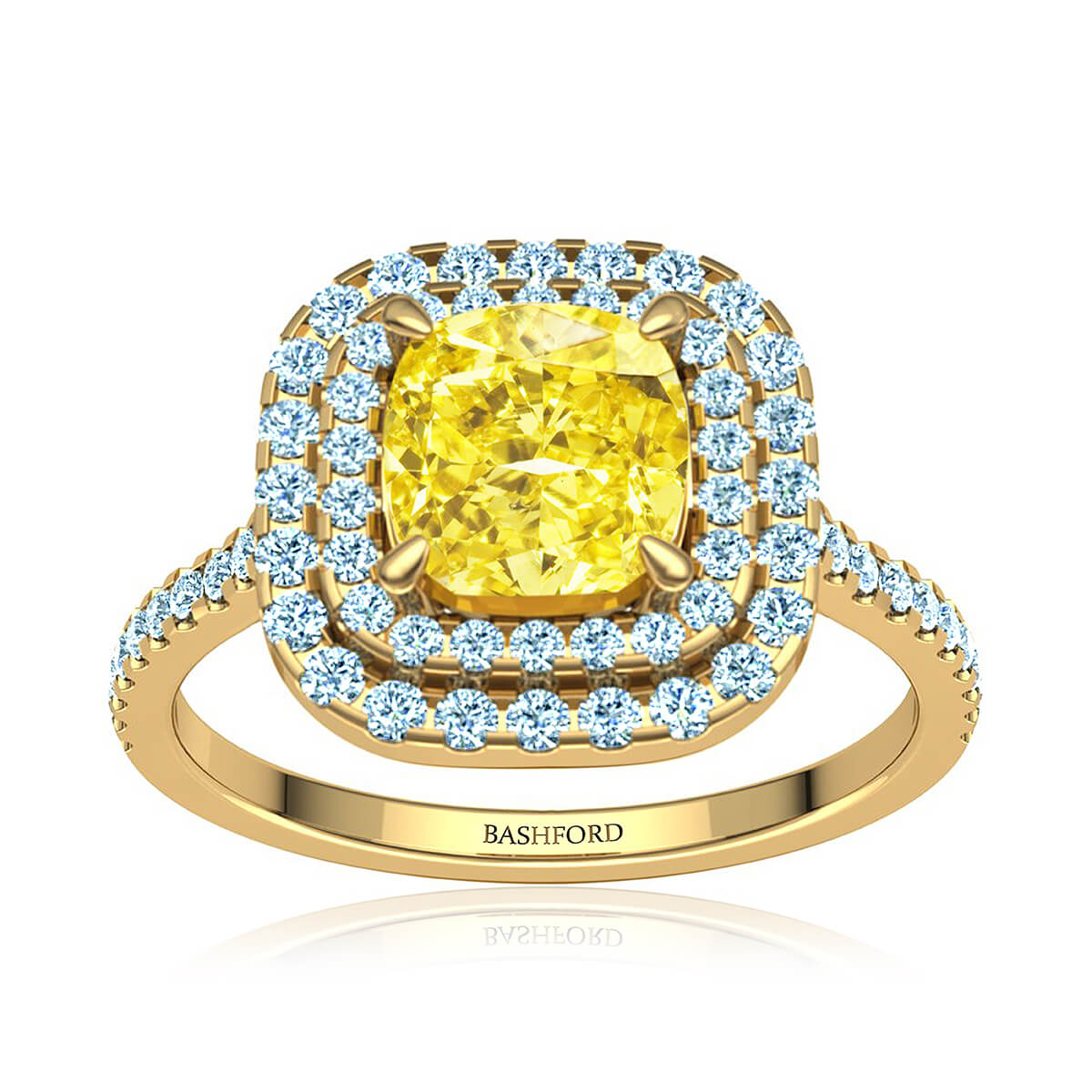 Marilou Yellow Moissanite Ring (with 2 1/2 Carat Cushion Moissanite)