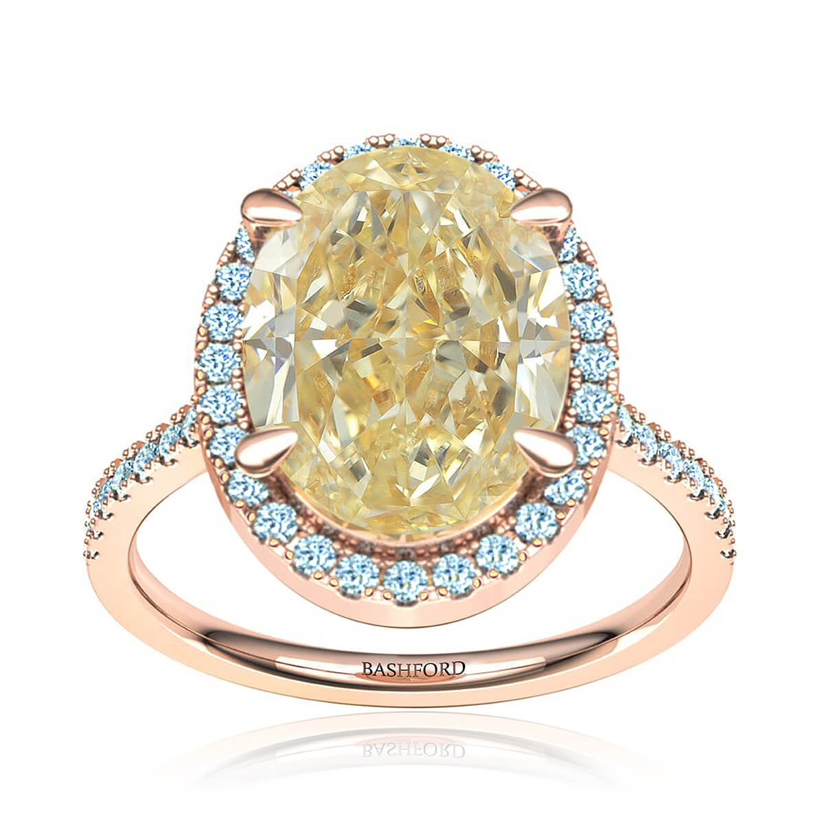 Queen Constance Diamond Ring (with 2 1/2 Oval Carat Yellow Diamond)