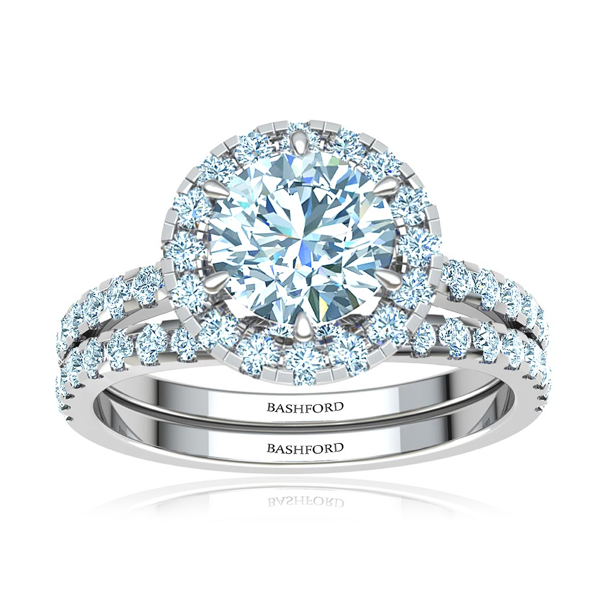 Plumeria Diamond Matched Set (with VS1, E, 1/2 Carat Round Diamond)