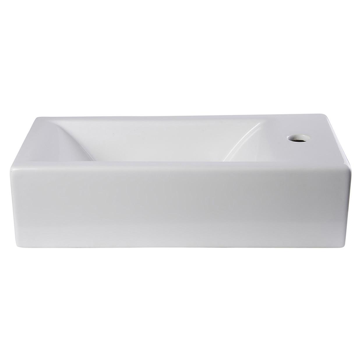 Bath4all Alfi Brand Ab108 Small White Modern Rectangular Wall Mounted Ceramic Bathroom Sink Basin