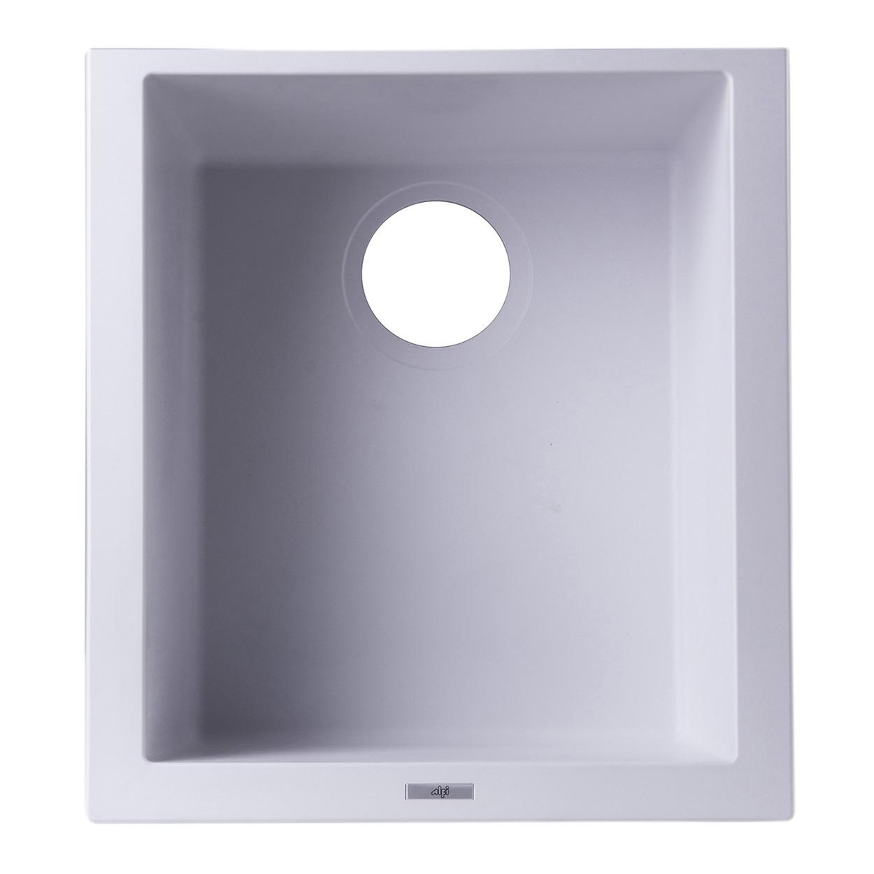 "ALFI Brand AB1720UM-W White 17"" Undermount Rectangular Granite Composite Kitchen Prep Sink - Image 1"