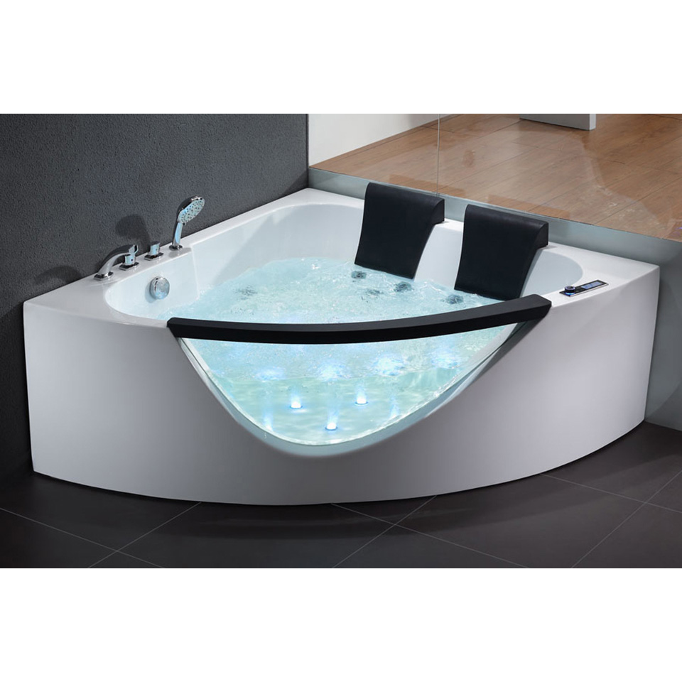 Bath4All - EAGO AM199 5\' Rounded Clear Modern Double Seat Corner ...