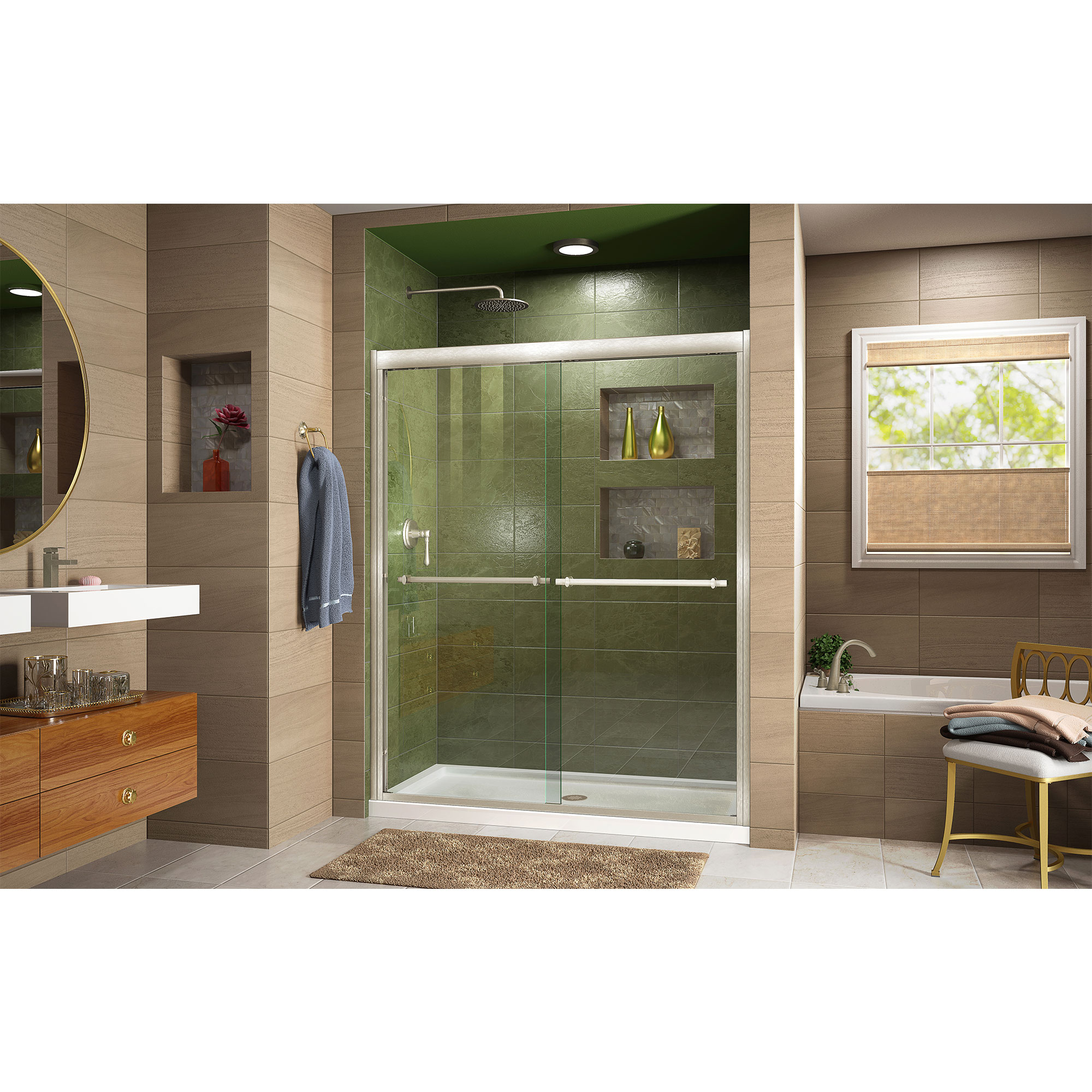 Dreamline Shdr 1248728 04 Duet 44 48 Sliding Shower Door Nickel