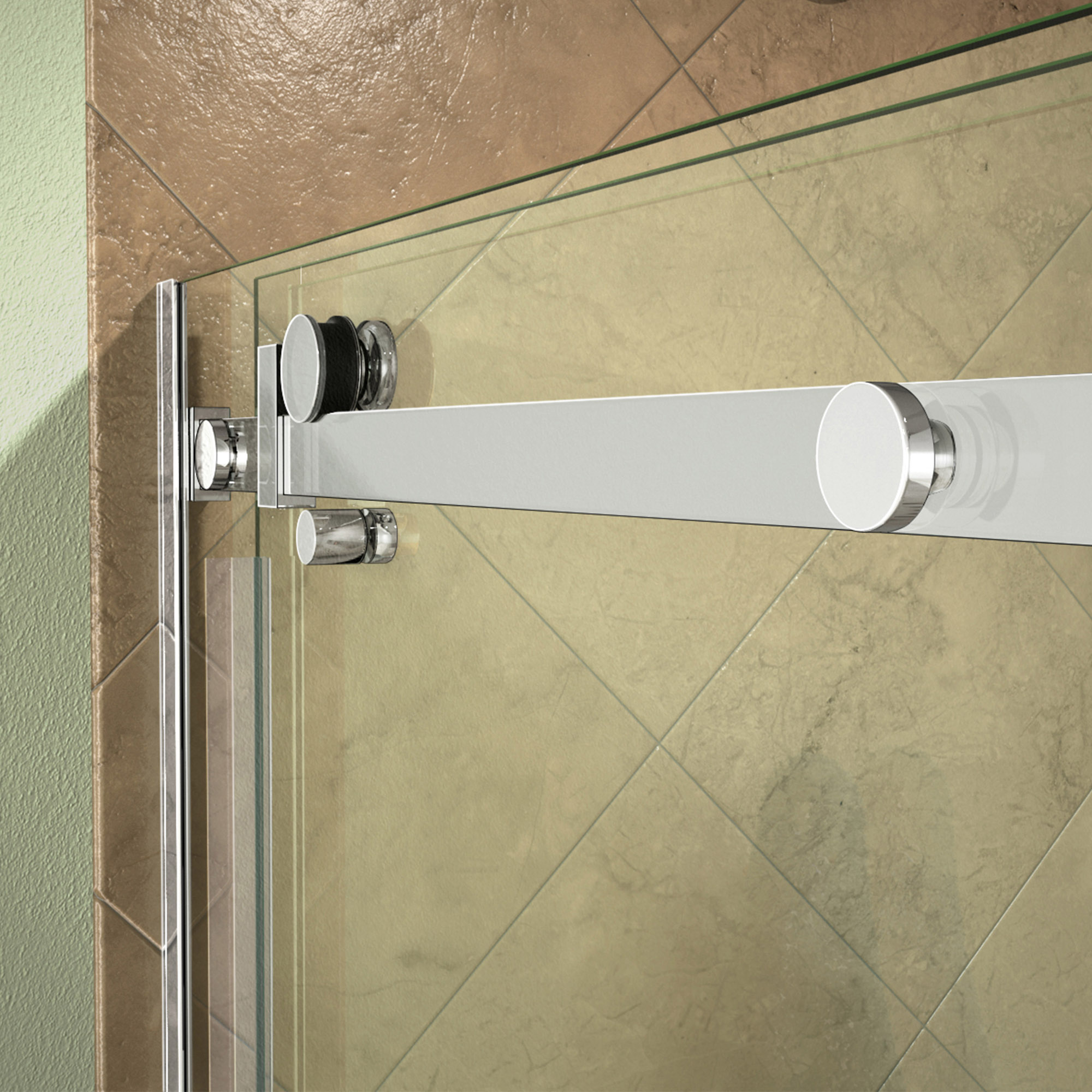 Dreamline shdr 64607610 07 enigma air 56 60 shower door in stainless steel for Stainless steel bathroom doors