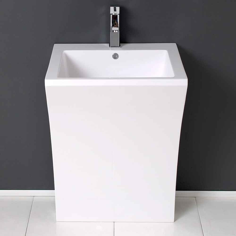 Bathroom Vanity Pedestal: Fresca FVN5024WH Quadro White Pedestal Sink With Cabinet