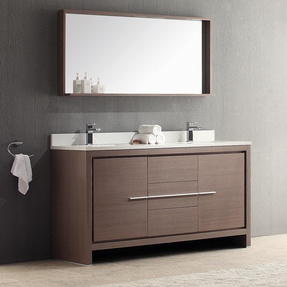 "Double Sink Mirrored Bathroom Vanity: Fresca FVN8119GO Allier 60"" Gray Oak Double Sink Bathroom"