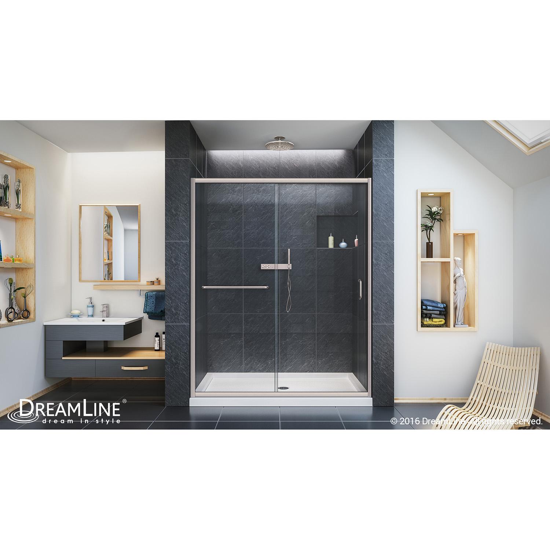 DreamLine SHDR-0960720-04 Infinity-Z 56 to 60  Frameless Sliding Shower Door Clear 1/4  Glass Door Nickel  sc 1 st  eBay & DreamLine SHDR-0960720-04 Infinity-Z 56 - 60