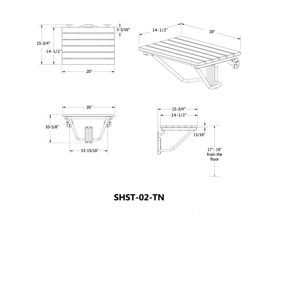 DreamLine SHST-02-TN Natural Teak Folding Shower Seat. ADA Compliant ...