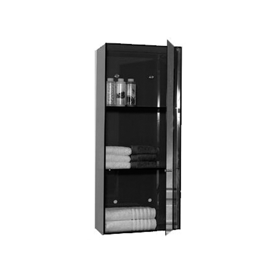 Whitehaus WHAEVF02 Aeri Vertical Glass Wall Mount Storage Unit With Three  Shelves And Mirror Door
