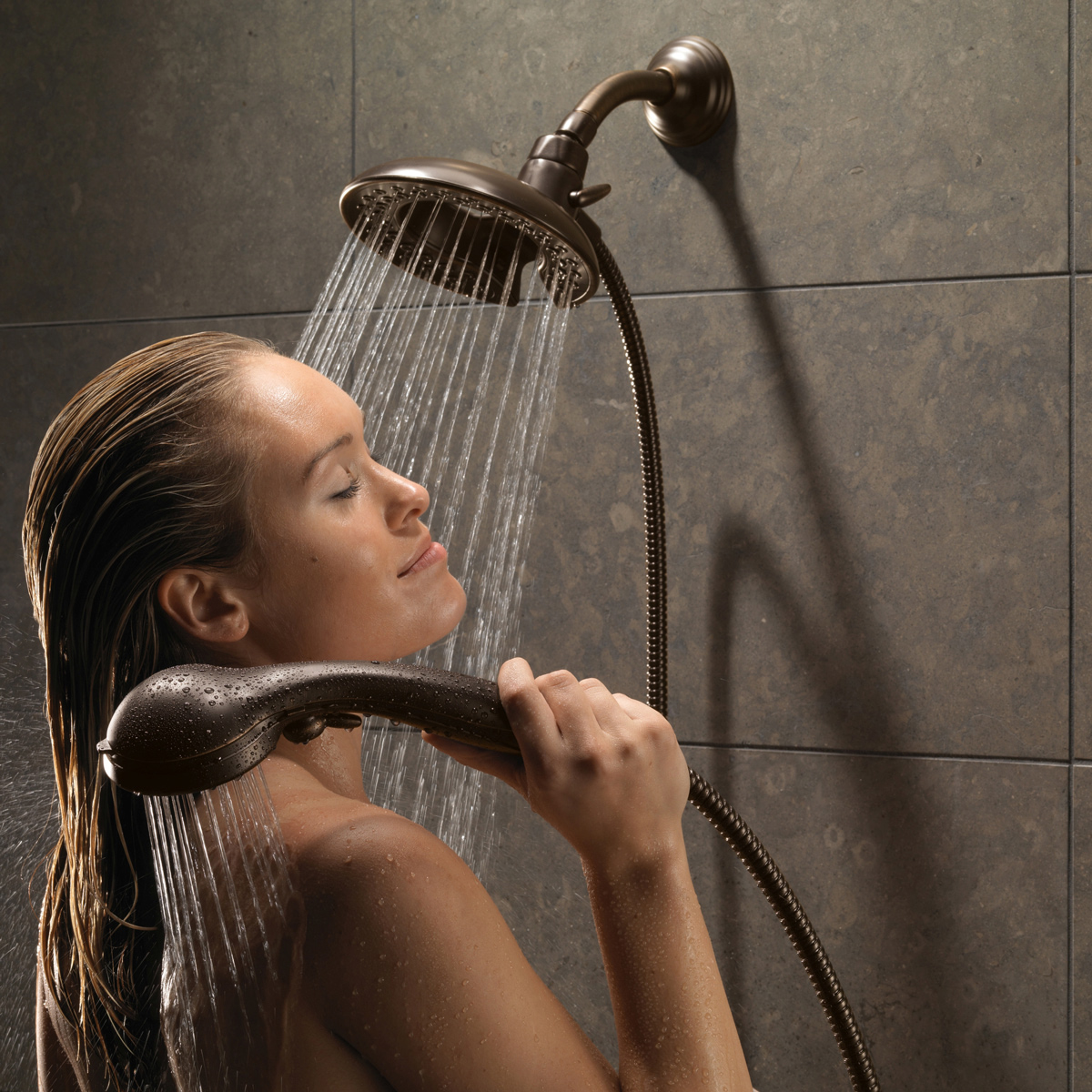 Delta 58045 RB In2ition 2 In 1 Shower Head And Hand Shower With 5 Spray  Settings   Includes Shower Hose And Shower Arm Mount