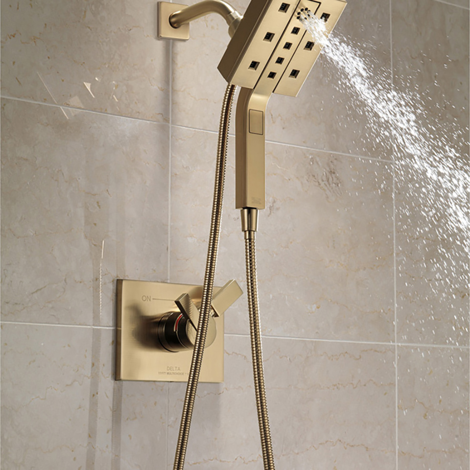 Delta 58470 SS In2ition 2 In 1 H2Okinetic Shower Head And Hand Shower With  Magnetic Docking And 4 Spray Settings
