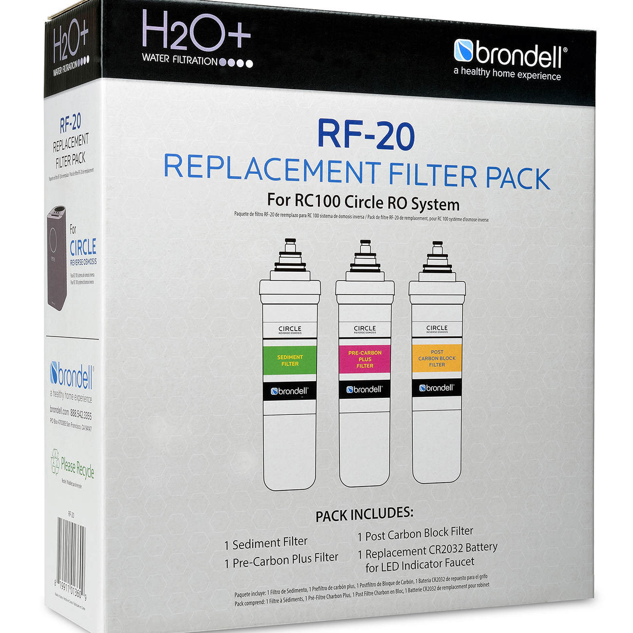 Brondell H2O+ Circle Reverse Osmosis Triple Filter Replacement Pack (RF-20) - Image 1