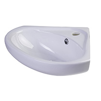 "ALFI Brand AB109 18"" White Corner Porcelain Wall Mounted Bath Sink - Image 1"