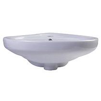 "ALFI Brand AB109 18"" White Corner Porcelain Wall Mounted Bath Sink - Image 3"