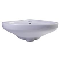 "ALFI Brand AB109 18"" White Corner Porcelain Wall Mounted Bath Sink - Image 3"