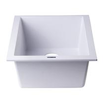 "ALFI Brand AB1720UM-W White 17"" Undermount Rectangular Granite Composite Kitchen Prep Sink - Image 2"